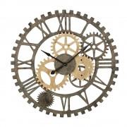 Maisons du Monde Reloj con engranajes de abeto y metal negro D.100