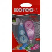 KORES Deutschland GmbH Kores Mini Einweg-Korrekturroller, Praktisches Korrekturmittel ideal für jedes Federmäppchen, 1 Stück, 3 m x 4,2 mm, farbig sortiert