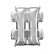 Vegaoo Stor silverfärgad hashtag-ballong One-Size
