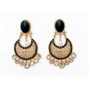 Indian Style Beaded Dangle Drop Fashionable Earrings Traditional Jhumka Jhumki Earrings for Women 16 Black