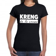 Bellatio Decorations KRENG de la creme tekst t-shirt zwart dames