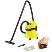Home kit - Aspirator umeduscat Karcher WD 2 1000 W 12 l NegruGalben + 5 saci de hartie extra