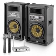 """OneConcept """"Yellow Star 10"""" PA-party készlet, max. 800 W, PA rendszer, kétcsatornás auna VHF rádió mikrofon (P-28285-30867)"""