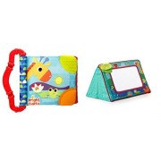 Baby Gift set Bright Starts Sit &See Floor Mirror and Baby First Book Bright Starts Teethe &Read - Safari Theme