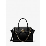 MK Carmen Small Saffiano Leather Belted Satchel - Black - Michael Kors