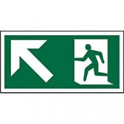 Unbranded Fire Exit Sign Up Left Arrow Plastic 10 x 20 cm