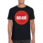 Bellatio Decorations Zwart Belgie shirt met duivel in cirkel shirt heren