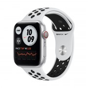 Smartwatch Apple Watch Nike Series 6 GPS + Cellular, 44mm, 4G, Carcasa Silver Aluminium, Bratara Pure Platinum/Black Nike Sport Band