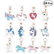 TENDYCOCO Assorted Unicorn Party Favor Keychains 24 Pieces Rainbow Unicorn Keychain Birthday Party Prizes Gifts for Kids and Adults