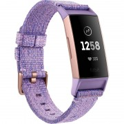 Bratara fitness Fitbit Charge 3, HR, IP67, NFC, Woven, Rose Gold Aluminum, Curea Lavender