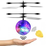 JAMSWALL Rc Flying Ball with Remote Control Toy Crystal Flashing Led Light Infrared Induction Helicopter for Kids, Teenagers Colorful Flyings Kid's