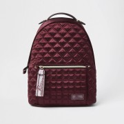 river island Womens Red satin quilted backpack (One Size)