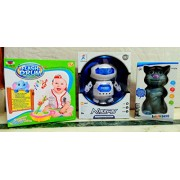 Play Design Flash Drum & Dancing Robot 360 Rotating & Touching Tom (Multicolor) Combo Pack