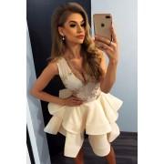 MyButik.pl Charlotte Sukienka Z Koronkowym Dekoltem Złoty Przezroczysty + Ecru XL