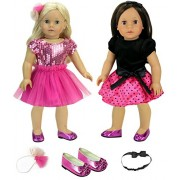 5 Piece Set For 18 Inch Dolls Includes Two Dresses, Two Hair Pieces And A Pair Of Dress Shoes