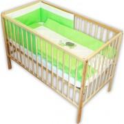 Lenjerie patut bebe cu broderie 4 piese verde