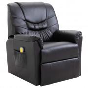 vidaXL Cadeira de massagem elétrica em couro artificial, preto