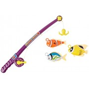 """Fishing Game 15"""" Toy fishing rod with real wind-up hook and fish"""