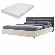 [my.bed] Elegantná manželská posteľ s LED osvetlením - matrac zo studenej HR peny - 180x200cm (Záhlavie: textil čierna / Rám: textil krémová) - s roštom