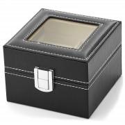 Warren Asher Zwarte Kunstleren Kist - Voor 2 Horloges
