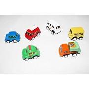 Kajal Toys™ Wonder Star 6 pcs Pull Back Small Toy Cars/ Vehicles Combo Set for Kids -Attractive Colors | Plastic | Safe for Children (Multicolor)