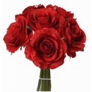 Bellatio flowers & plants Rode rozen boeket kunstbloemen 6 stuks