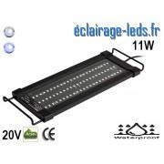 Rampe LED 11W étanche IP67 pour Aquarium Blanc et bleu 30-43cm 20V ref rpa-01