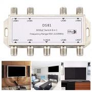 Dupa DS81 8 en 1 Señal satelital Interruptor DiSEqC LNB Receptor Multiconmutador Servicio Pesado Zinc Fundido a presión Tratado con Cromo
