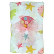 Stephan Baby Go Fish Cotton Muslin Swaddle Blanket Pink Fishes