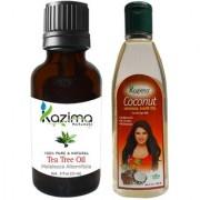 KAZIMA Combo of Tea Tree Oil (15ML) and Coconut Herbal Hair Oil (100ML) Anti Hair Loss Treatment Maintains Healthy Scalp & Dandruff Control
