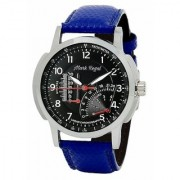 Mark Regal Round Dail Blue Leather Strap Analog Watch For Mens