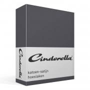 Cinderella katoen-satijn hoeslaken - 100% katoen-satijn - Lits-jumeaux (160x220 cm) - Anthracite