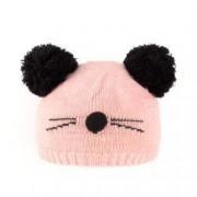 Caciula tricotata fete model Pisica C418-60 roz5-7 ani