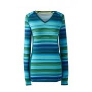 ランズエンド LANDS' END レディース・パフォーマンス・Vネック/柄/長袖(グリーンマルチストライプ)