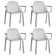 SCAB design Set 4 SCAB Design Stoelen PIÙ Armleuningen - Ivoor Wit