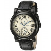 Invicta Watches Invicta Men's I-Force Black Leather Band Steel Case Quartz Silver-Tone Dial Analog Watch 22257 Antique SilverBlack