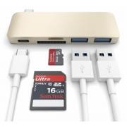 Satechi USB-C Pass Through USB Hub - мултифункционален хъб за свързване на допълнителна периферия за компютри с USB-C (златист)