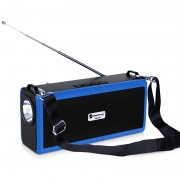 Outdoor Camping Portable Flashlight Wireless Speaker Multi-function Bluetooth Speaker with Shoulder Strap - Blue