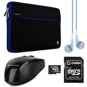 "VanGoddy Neoprene Sleeve / Funda Neopreno para for HP 17.3"" Laptops + Audifonos / Auriculares + 64GB Tarjeta De Memoria + Mouse USB (Negro con Azul)"