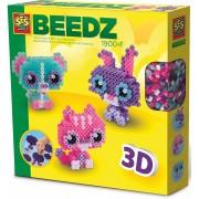 SES Creative Strijkkralen knutselset, 'Beedz 3D dierenvriendjes'