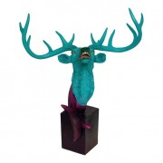 Escultura Busto de Alce Green e Purple Fullway 64x53