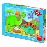 Puzzle - Dinozauri prietenosi 48 piese