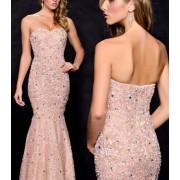 Duga roze cipkasta haljina sa cirkoncicima