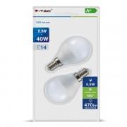 LAMPADINA LED E14 5,5W BIANCO NATURALE A BULBO 2 PEZZI VT-2146-LED7356