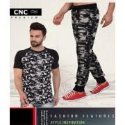 CNC Men Track Pant & Active Tshirt Camo Print Track Suit Black