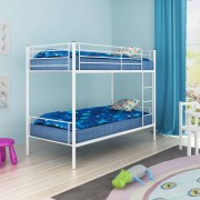 vidaXL Детско двуетажно легло, 200x90 см, метално, бяло