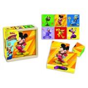 Mickey si Pilotii de curse - Puzzle cuburi lemn, 9 piese