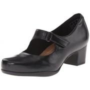 Clarks Women's Rosalyn Wren Pump, Black Leather, 7.5 M US