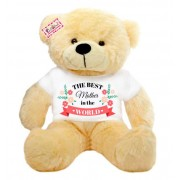 2 feet peach teddy bear wearing The Best Mother in the world T-shirt