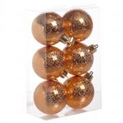 Cosy & Trendy 6x Koperen cirkel motief kerstballen 6 cm kunststof
